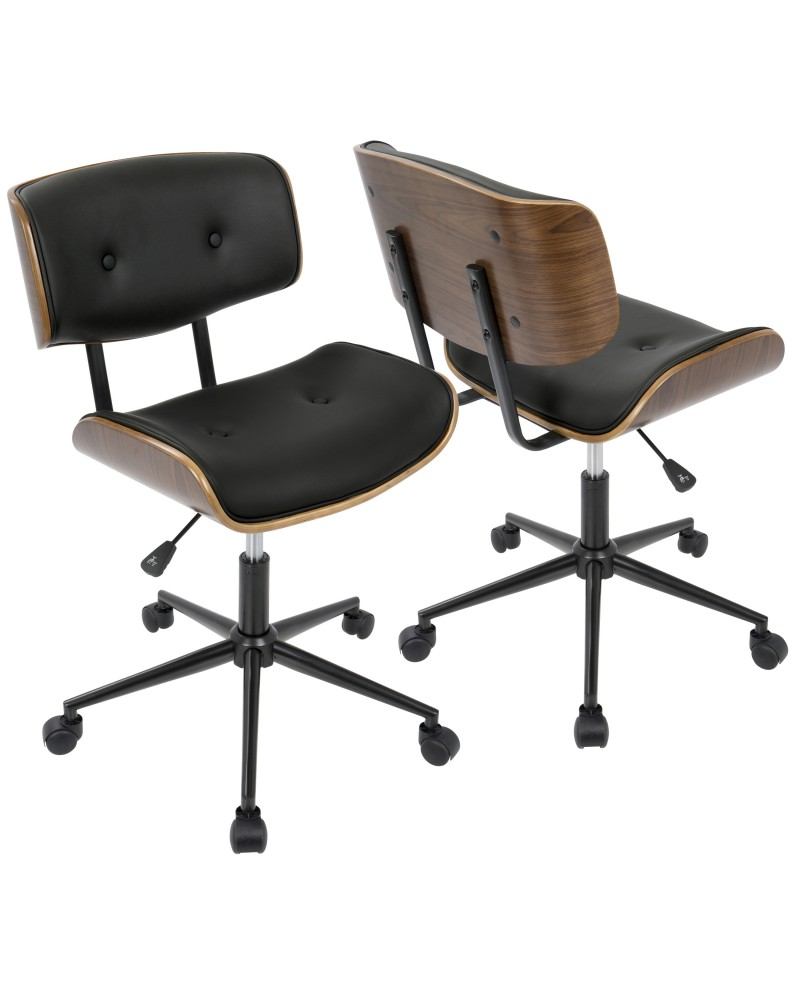 Lombardi Mid Century Modern Adjustable Office Chair With Swivel In Walnut  And Black