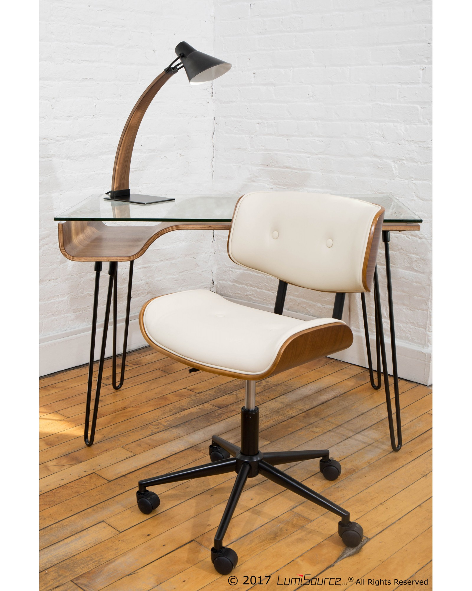 Lombardi Mid-Century Modern Adjustable Office Chair with Swivel in Walnut and Cream