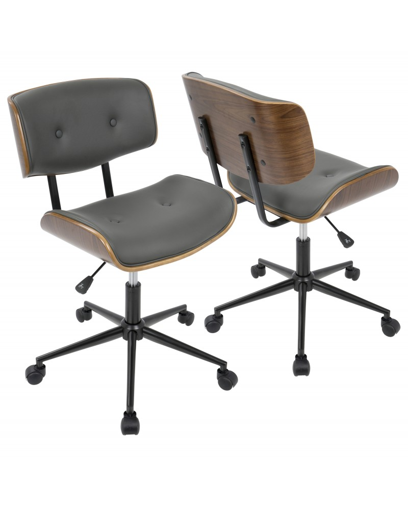 Lombardi Mid-Century Modern Adjustable Office Chair with Swivel in Walnut and Grey
