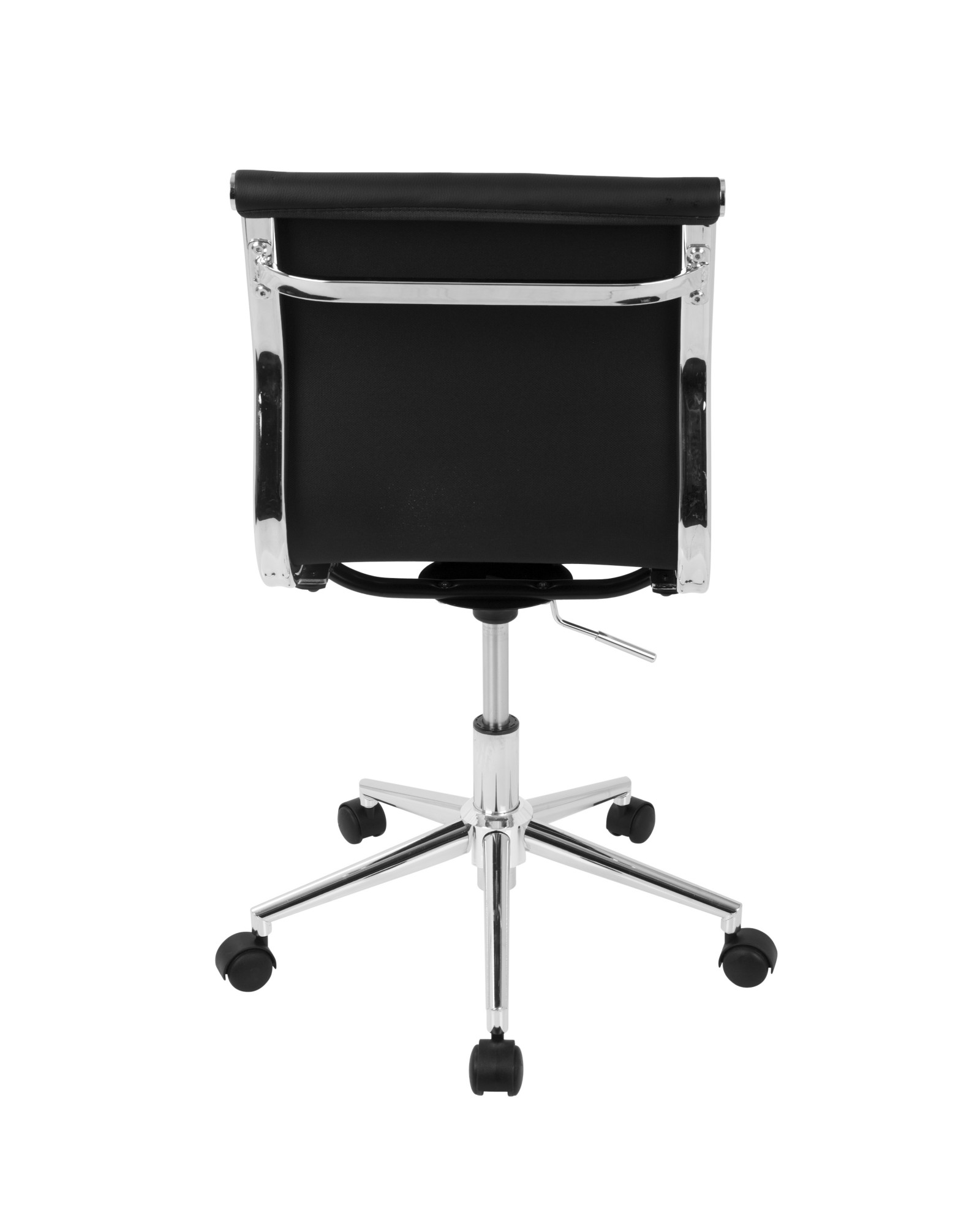 Master Contemporary Armless Adjustable Task Chair in Black Faux Leather