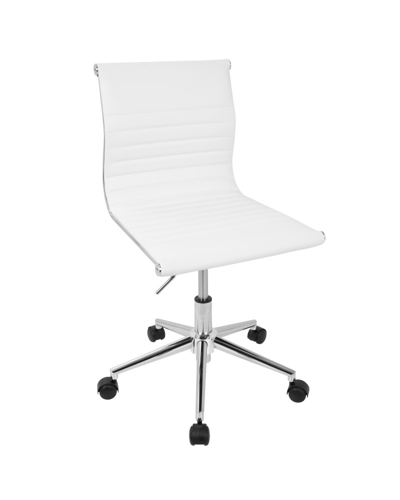 Master Contemporary Armless Adjustable Task Chair in White Faux Leather