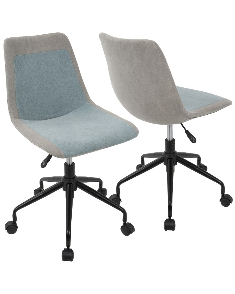 Orzo Height Adjustable Task Chair in Black with Blue Denim Fabric