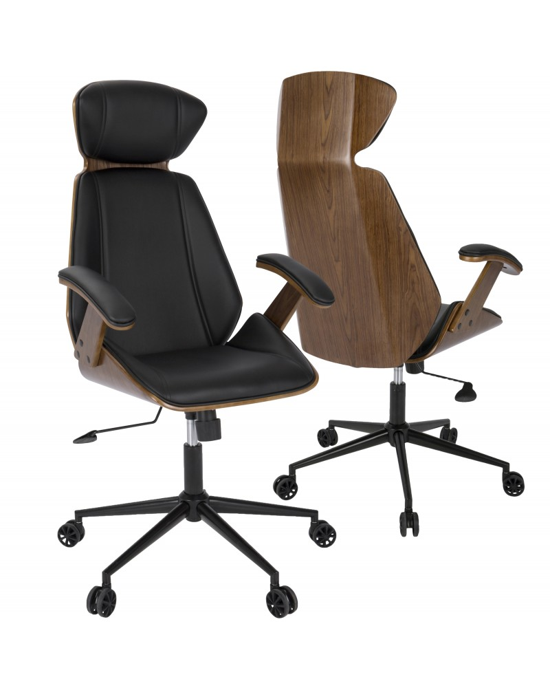 Spectre Mid-Century Modern Adjustable Office Chair in Walnut Wood and Black Faux Leather