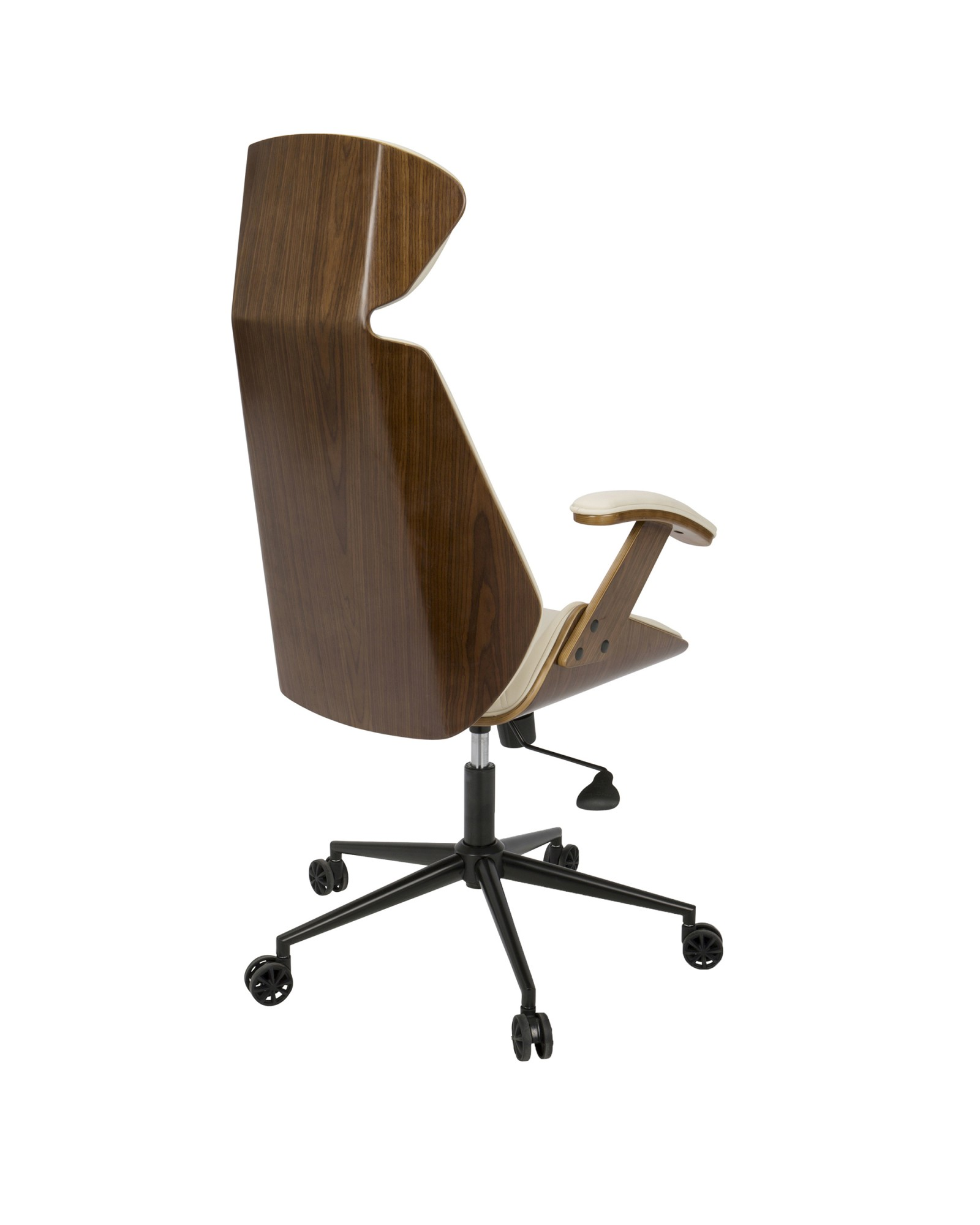 Spectre Mid-Century Modern Adjustable Office Chair in Walnut Wood and Cream Faux Leather
