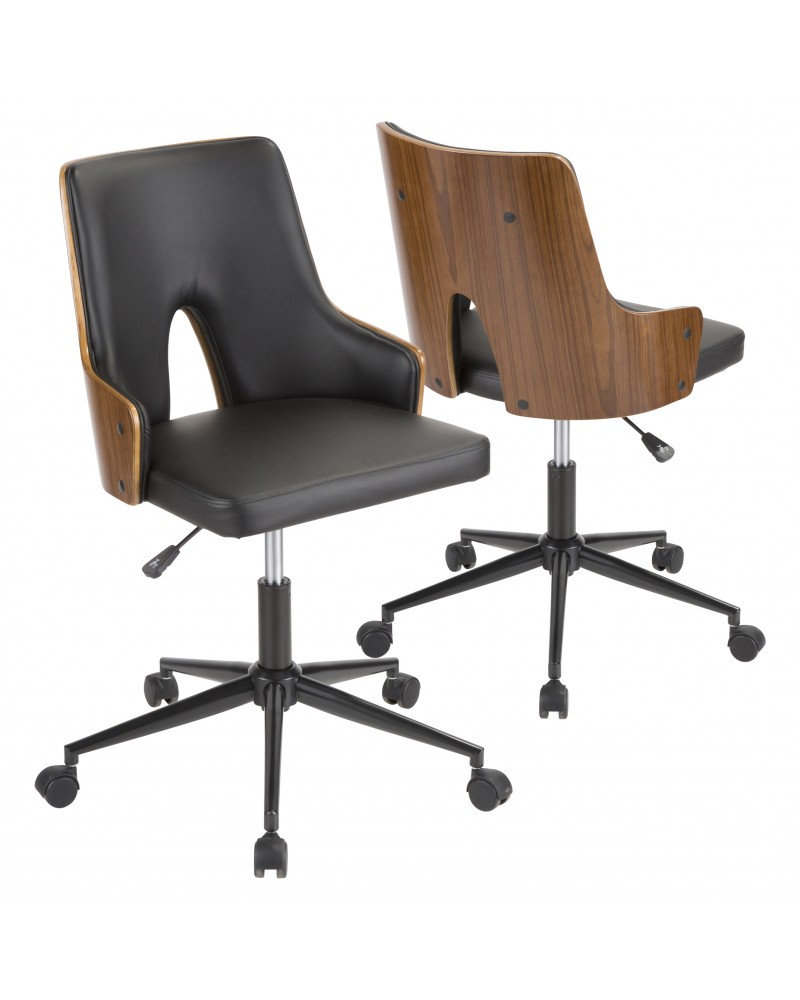 Stella Mid-Century Modern Office Chair in Walnut Wood and Black Faux Leather