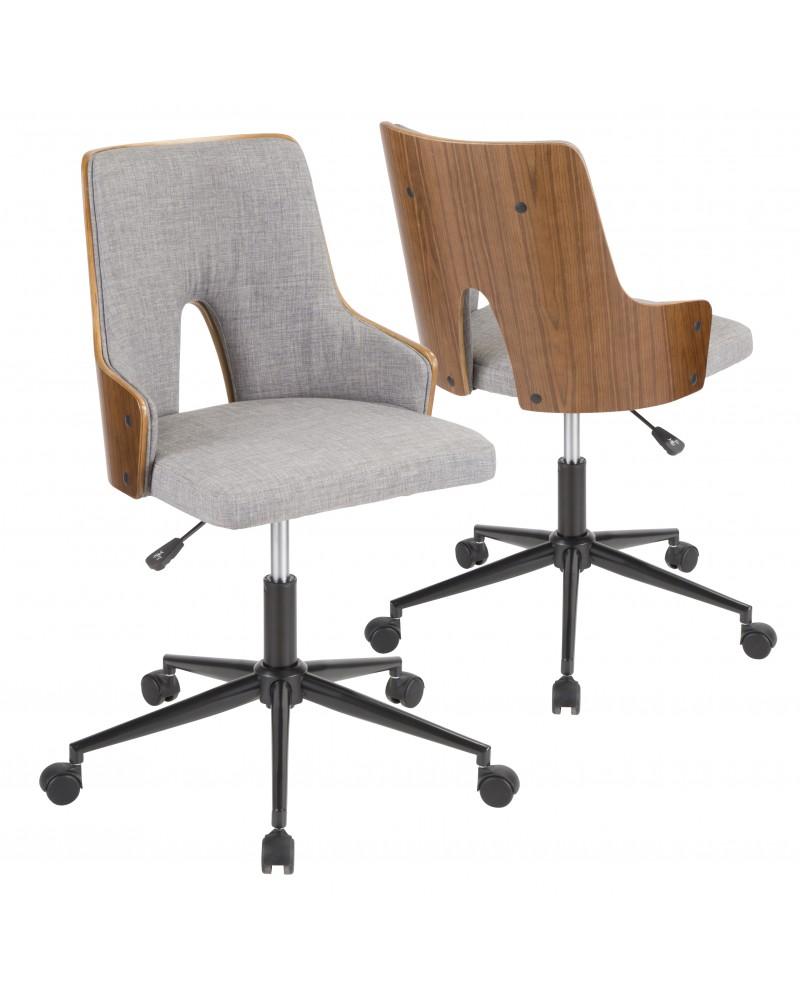 Stella Mid-Century Modern Office Chair in Walnut Wood and Grey Fabric