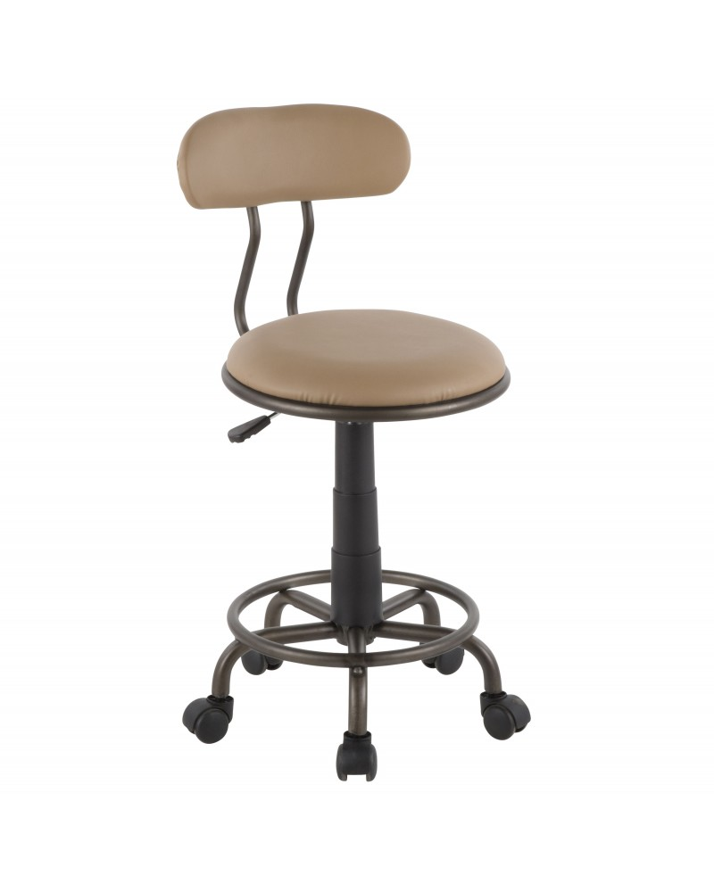Swift Industrial Task Chair in Antique Metal and Camel Faux Leather