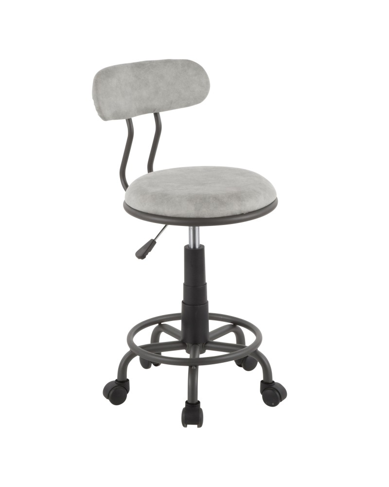 Swift Industrial Task Chair in Grey Metal and Light Grey Faux Leather