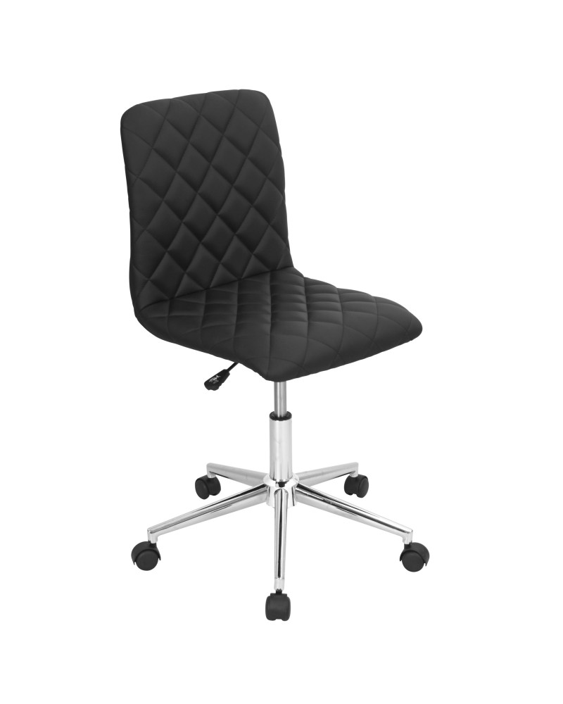 Caviar Contemporary Adjustable Office Chair in Black Faux Leather