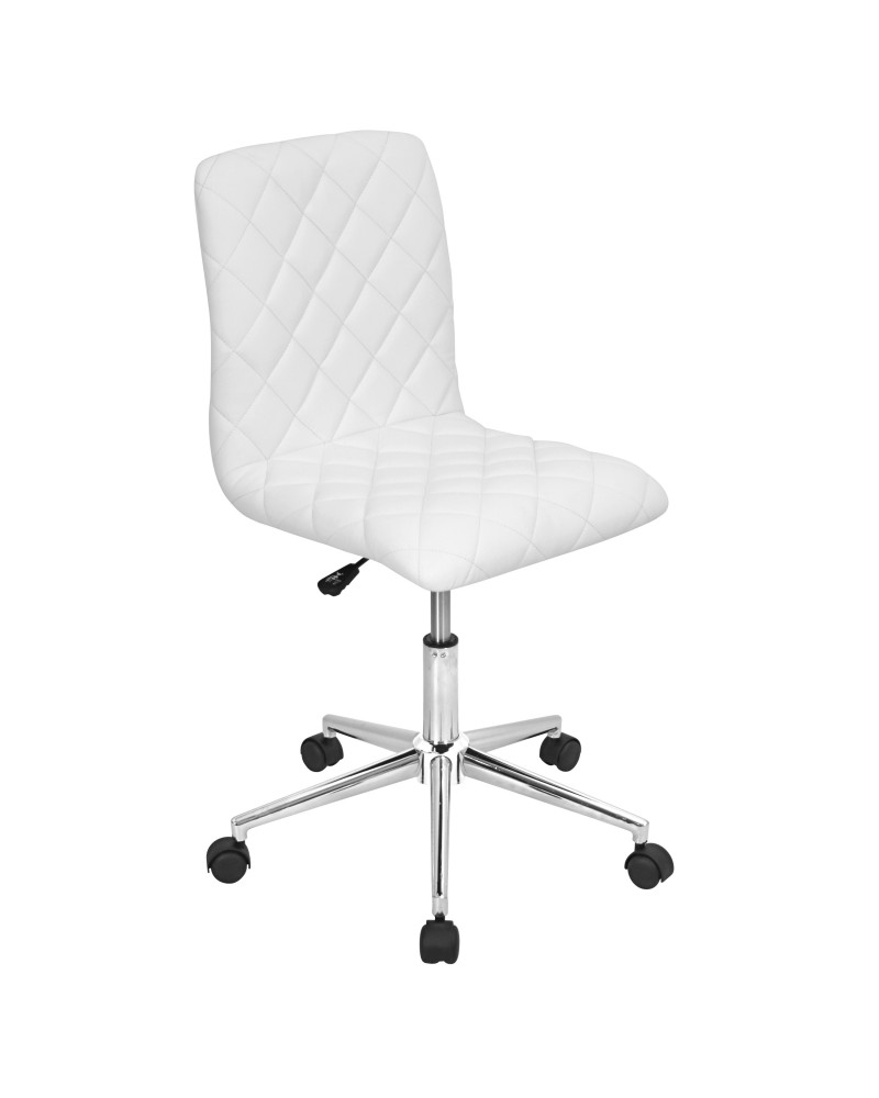 Caviar Contemporary Adjustable Office Chair in White Faux Leather