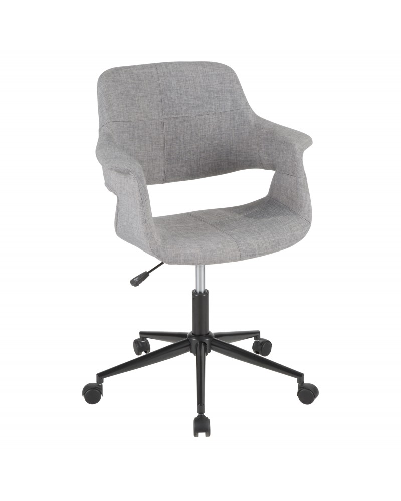 Vintage Flair Mid-Century Modern Office Chair in Grey with Black Metal Base