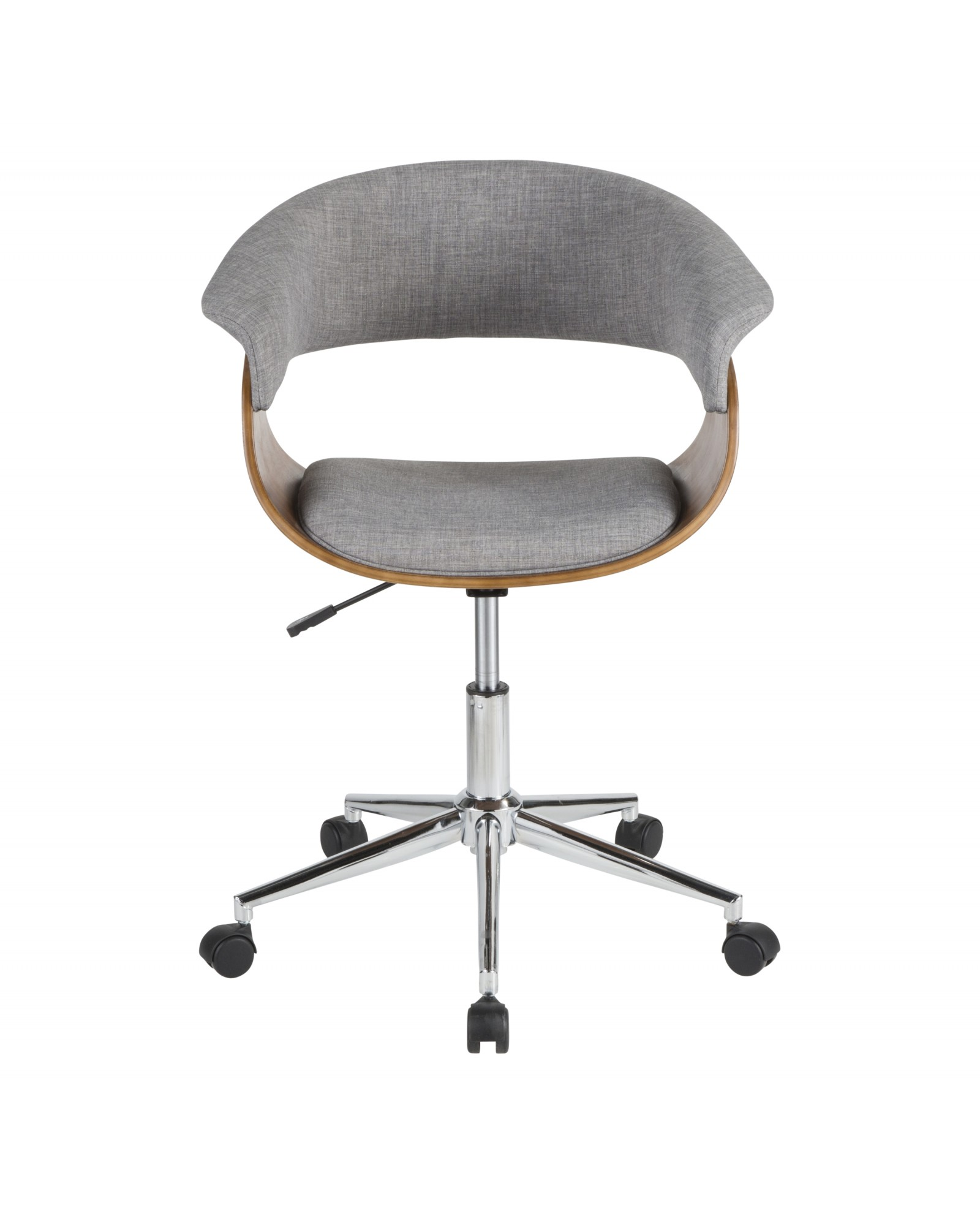 Vintage Mod Mid-Century Modern Office Chair in Walnut Wood and Light Grey Fabric