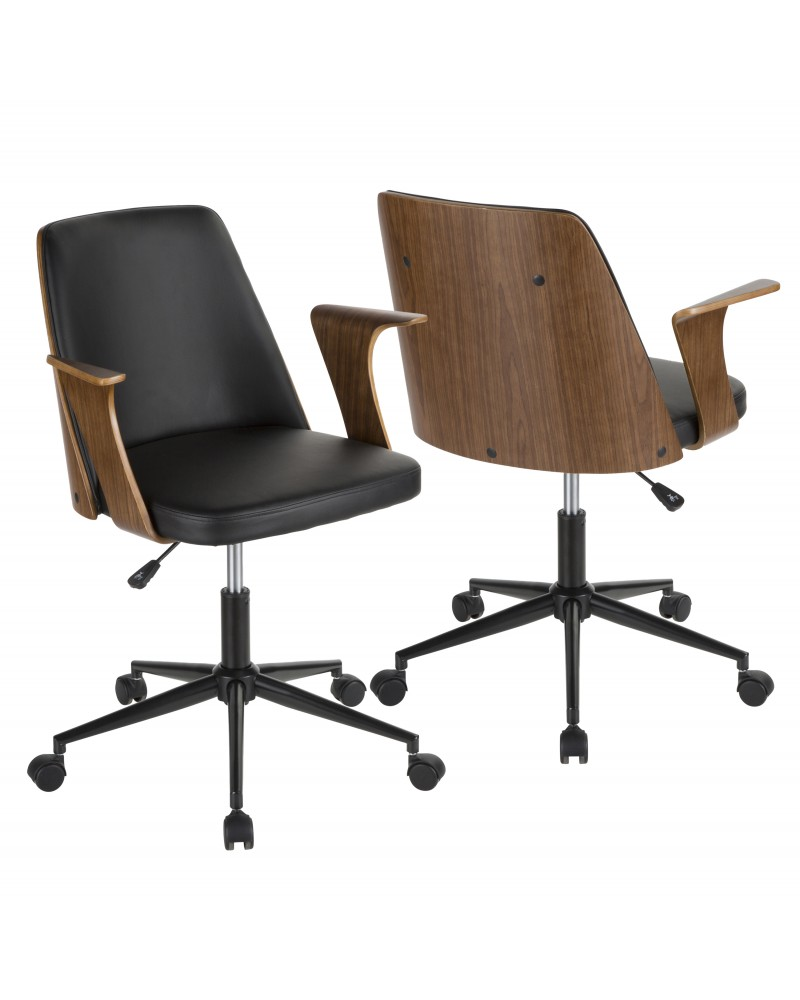 Verdana Mid-Century Modern Office Chair in Walnut Wood and Black Faux Leather