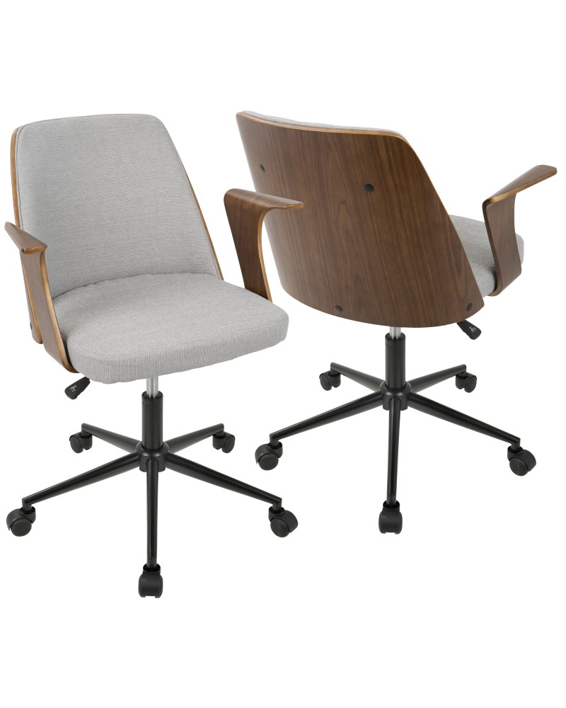 mid century modern office chairs. Verdana Mid-Century Modern Office Chair In Walnut Wood And Grey Fabric Mid Century Chairs E
