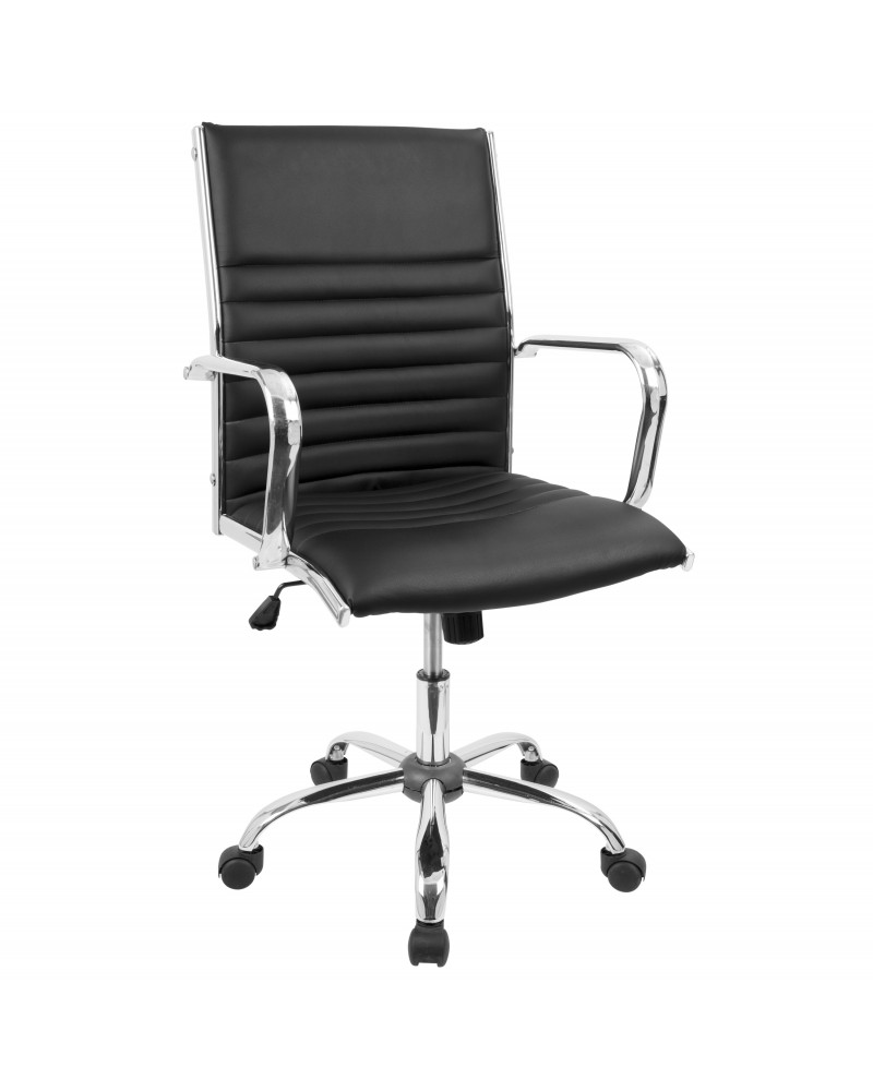 Master Contemporary Adjustable Office Chair with Swivel in Black Faux Leather