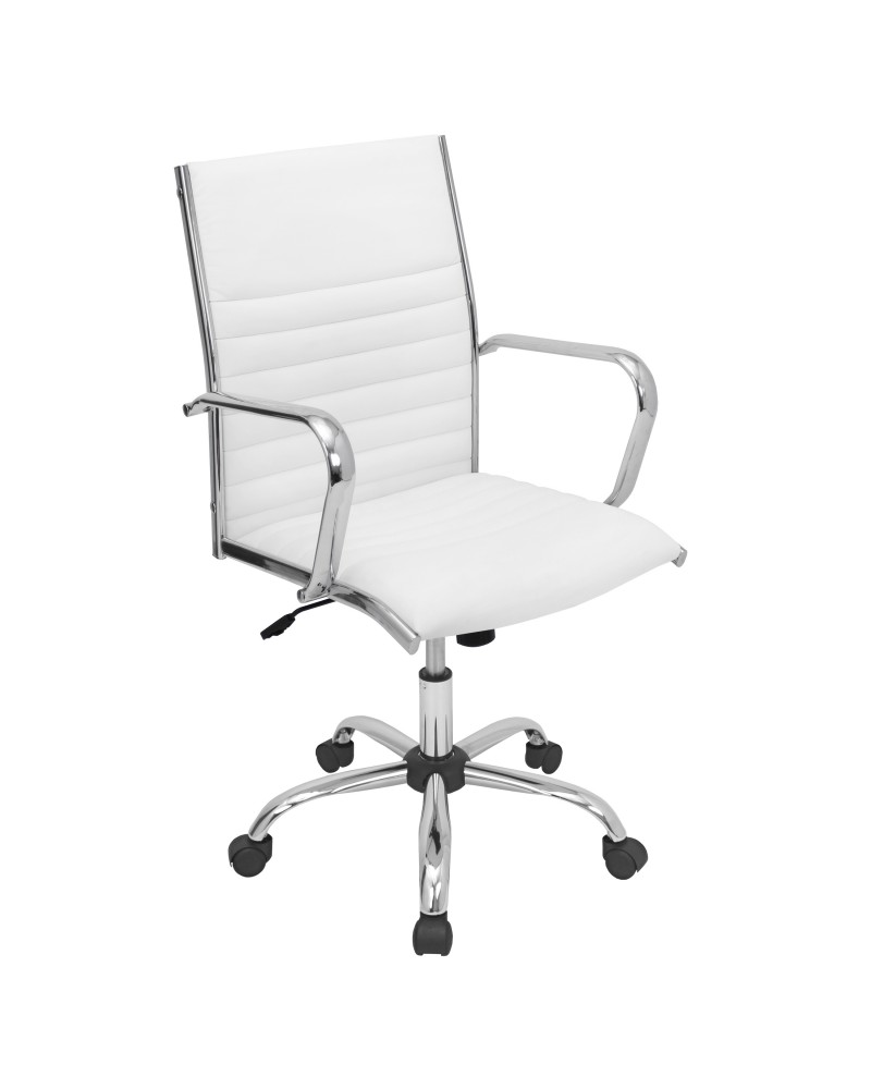 Master Contemporary Adjustable Office Chair with Swivel in White Faux Leather