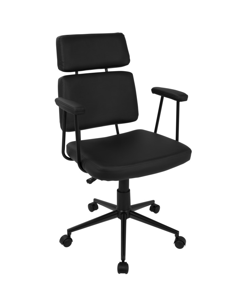 Sigmund Contemporary Adjustable Office Chair in Black Faux Leather