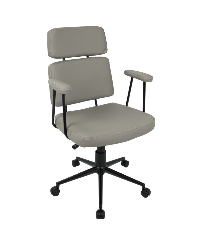 Sigmund Contemporary Adjustable Office Chair in Grey Faux Leather