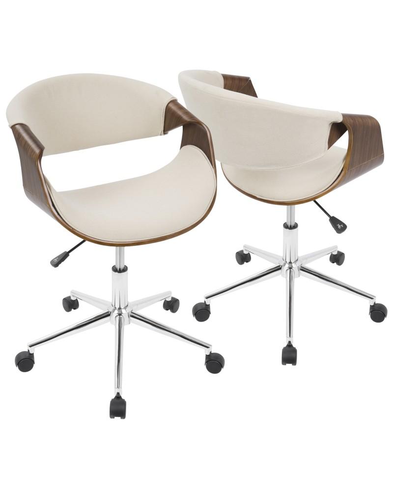 Curvo Mid-Century Modern Office Chair in Walnut and Cream