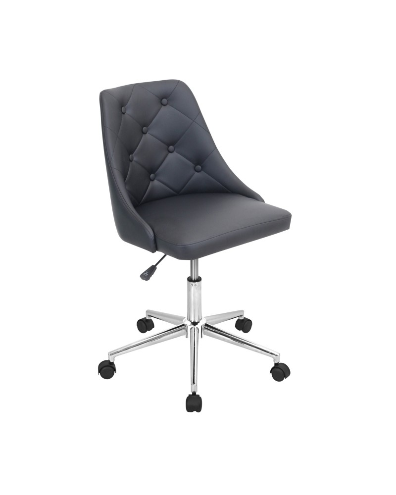 Marche Contemporary Adjustable Office Chair with Swivel in Black Faux Leather
