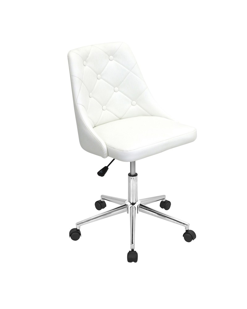 Marche Contemporary Adjustable Office Chair with Swivel in White Faux Leather