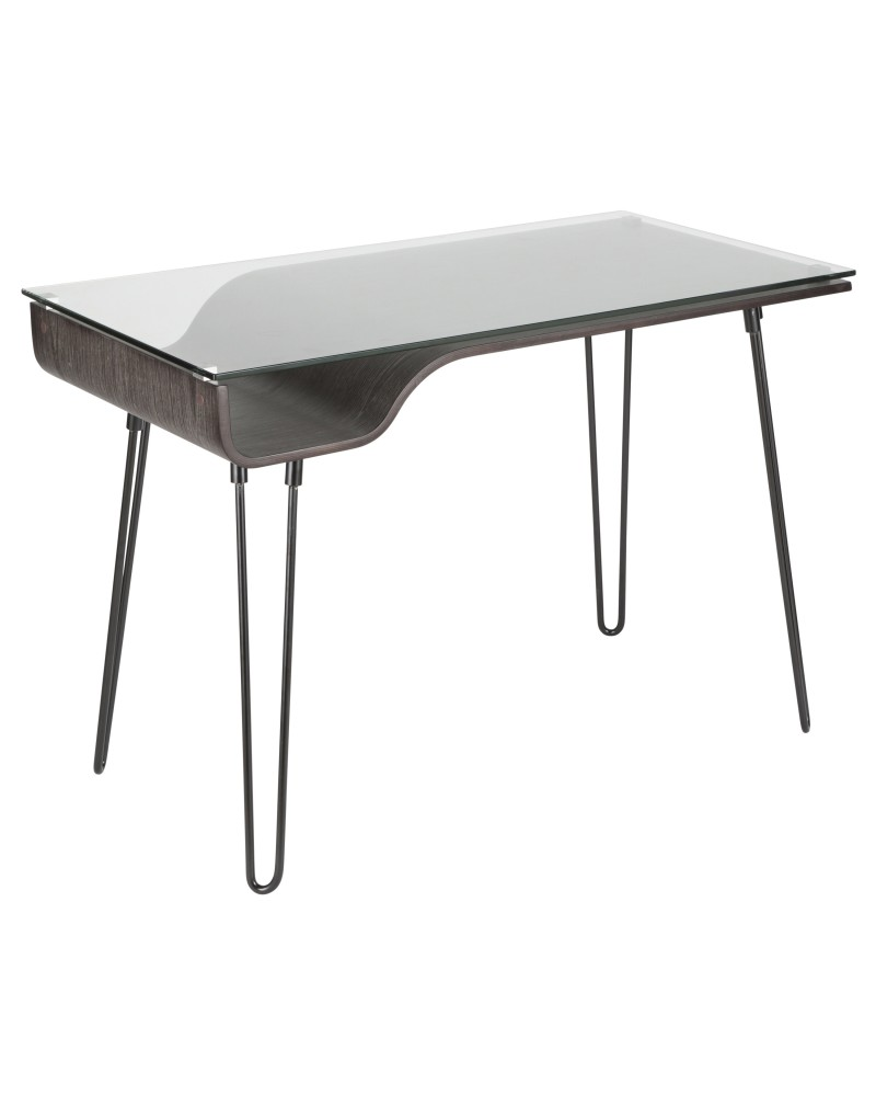 Avery Mid-Century Modern Desk in Dark Grey Wood, Clear Glass, and Black Metal