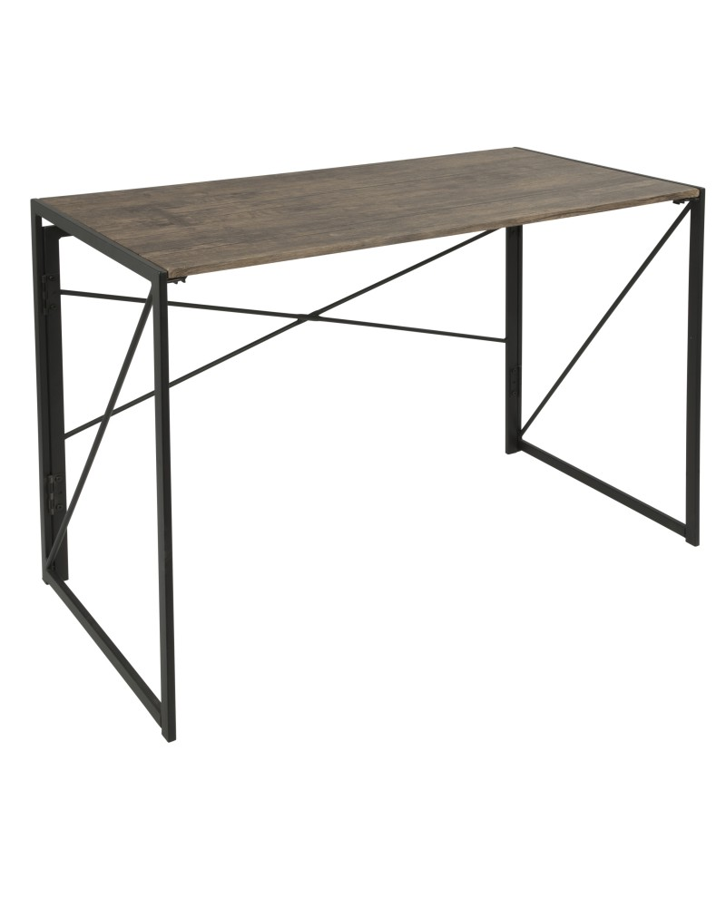 Dakota Industrial Office Desk in Black with Wood Top