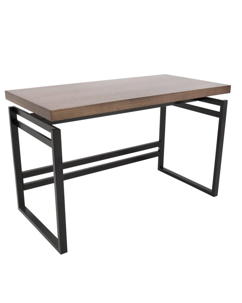 Drift Industrial Desk in Black and Walnut
