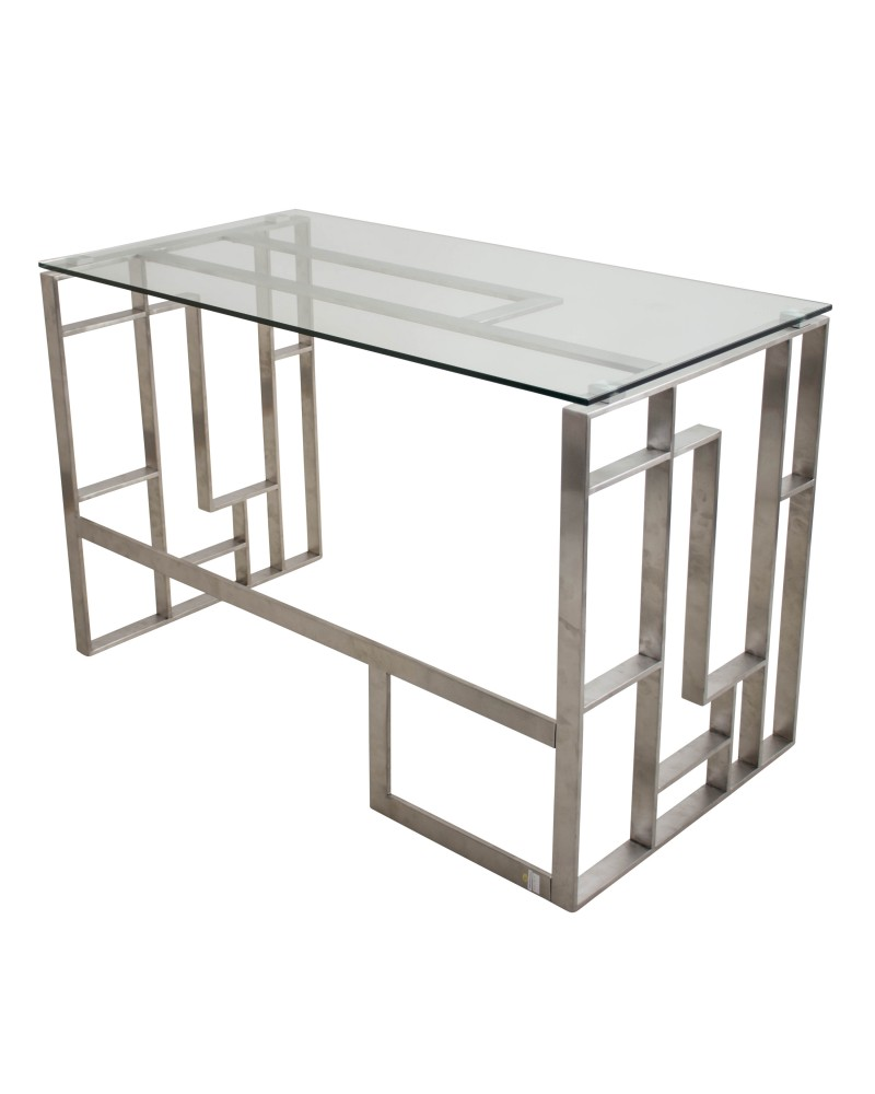 Mandarin Contemporary Desk in Brushed Stainless Steel and Clear Glass