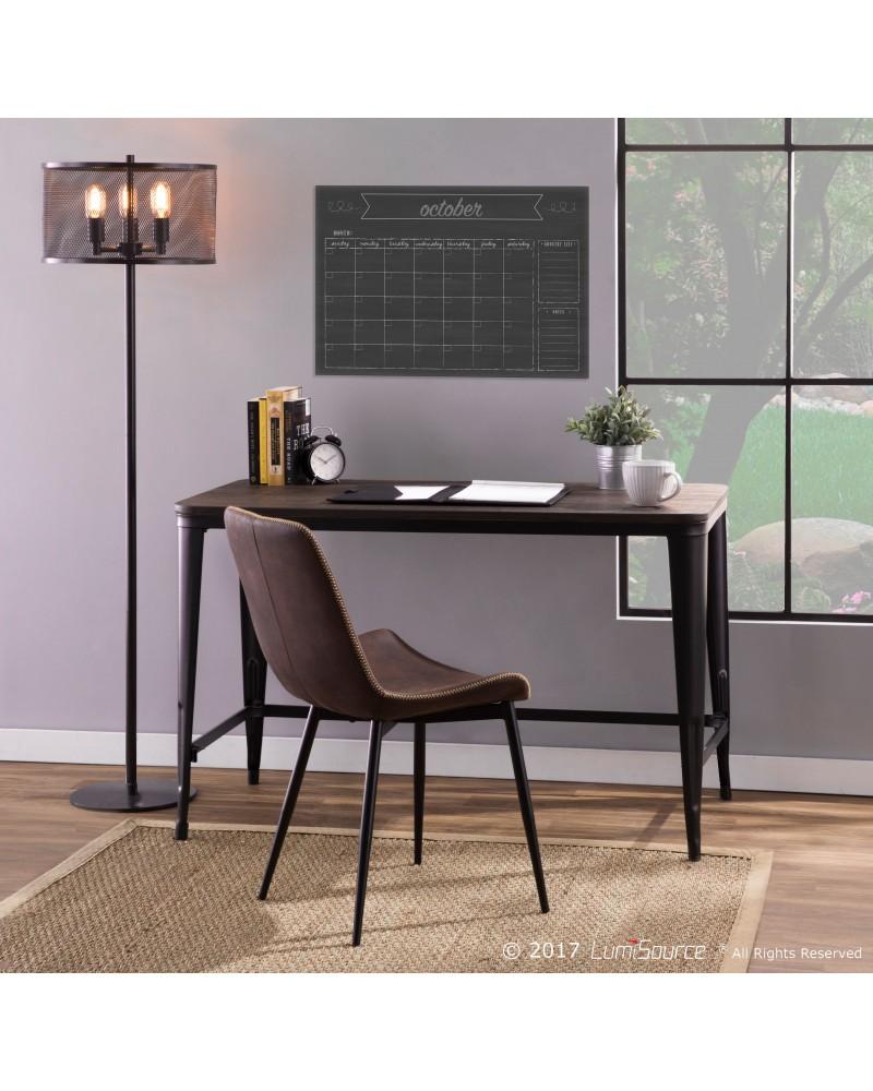 Pia Industrial Desk in Black and Espresso