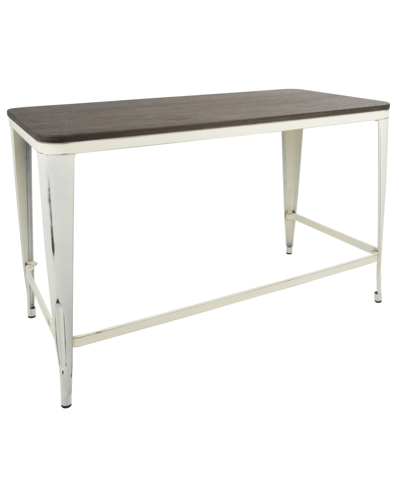 Pia Industrial Desk in Vintage Cream and Espresso