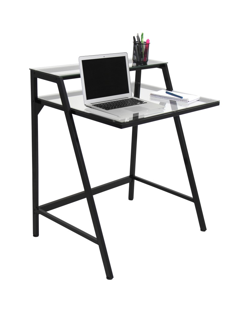 2-Tier Contemporary Desk in Black and Clear
