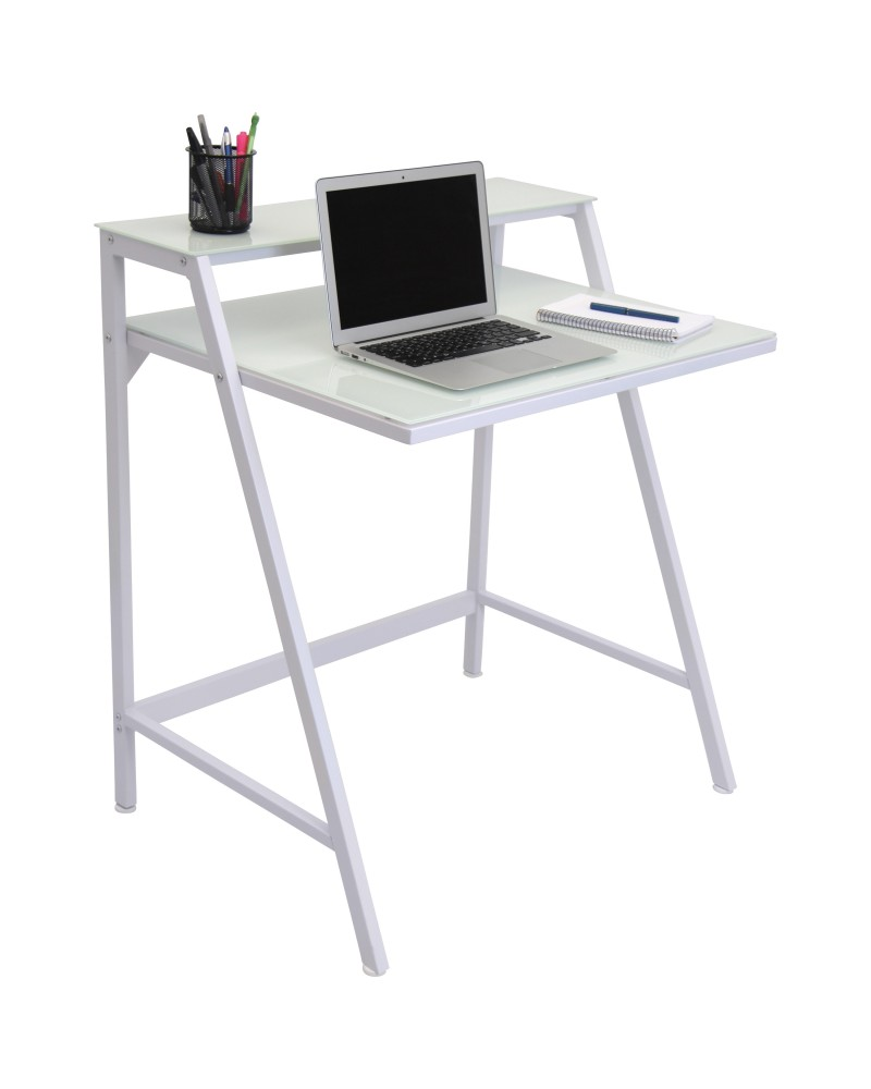 2-Tier Contemporary Desk in White
