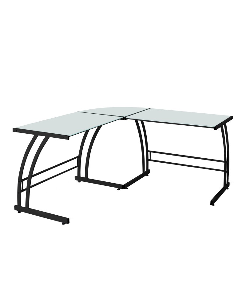 Gamma Contemporary Desk in Black Frame and White