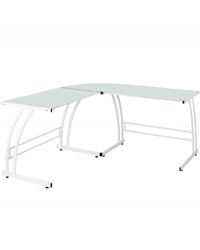 Gamma Contemporary Desk in White Frame and White