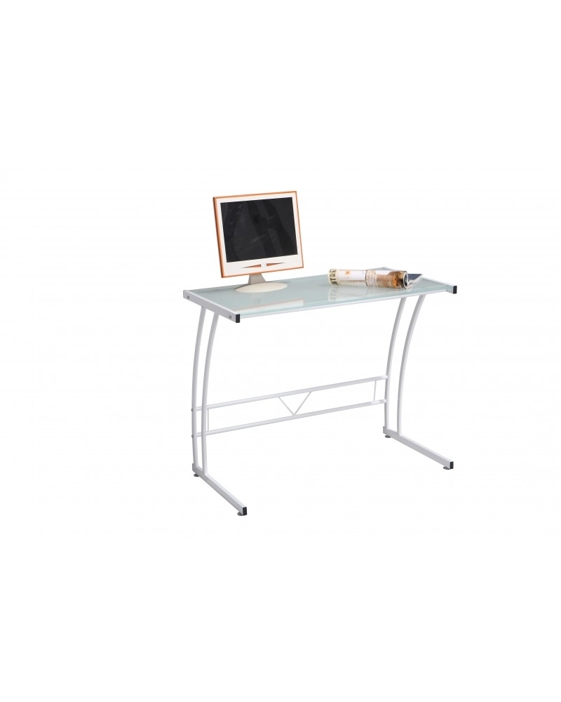 Sigma Contemporary Desk in White Frame and White