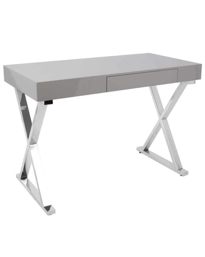Luster Contemporary Desk in Grey