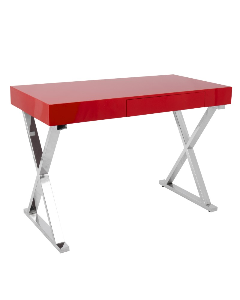 Luster Contemporary Desk in Red