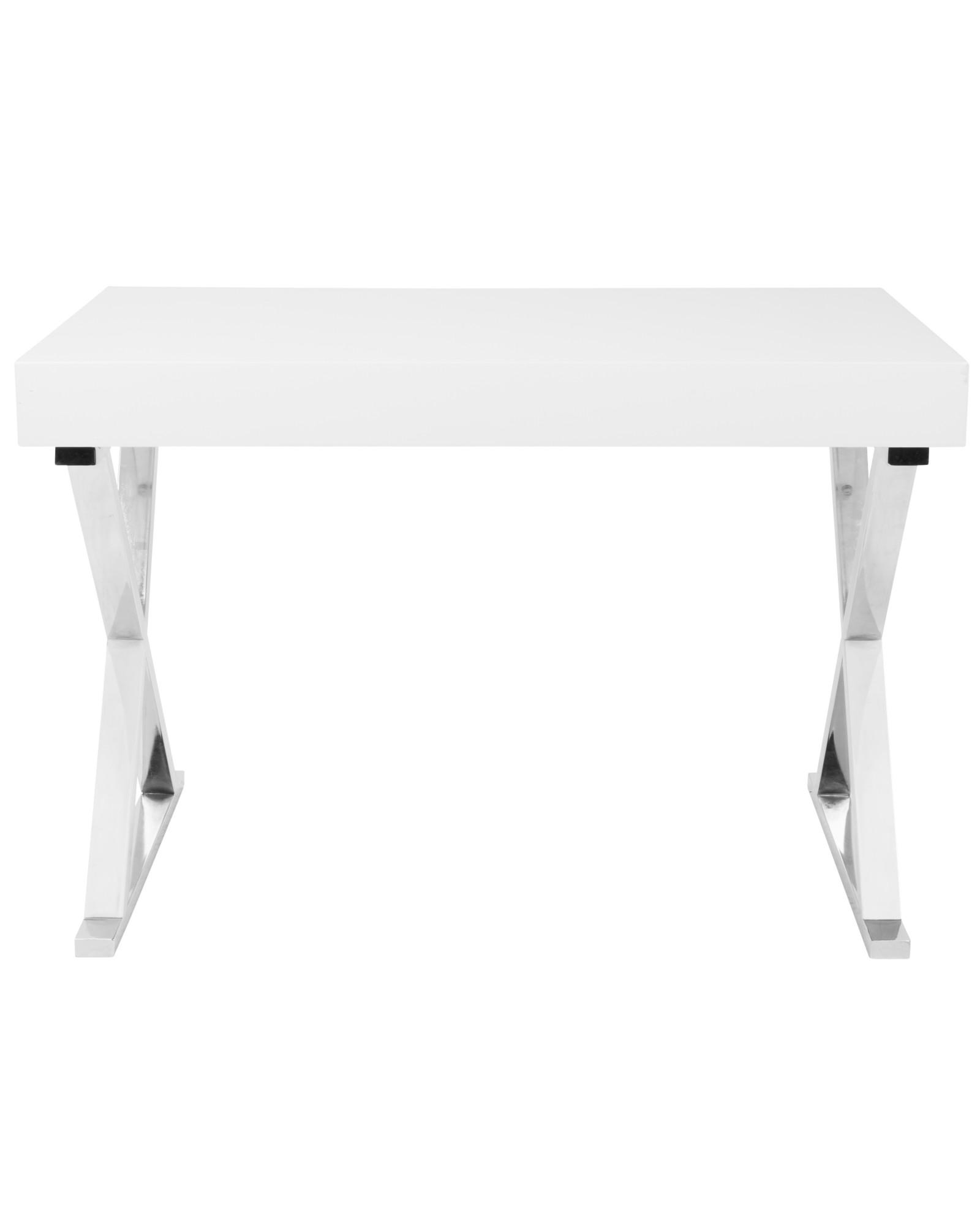 Luster Contemporary Desk in White