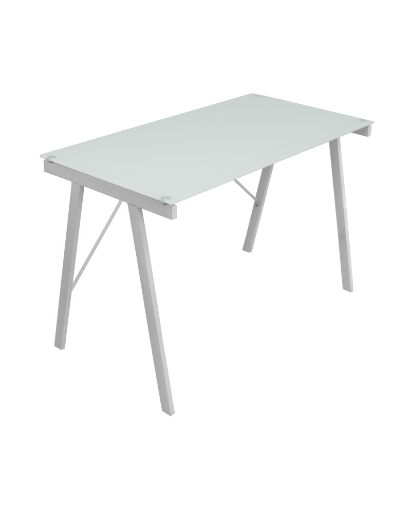 Exponent Contemporary Desk in White and Silver