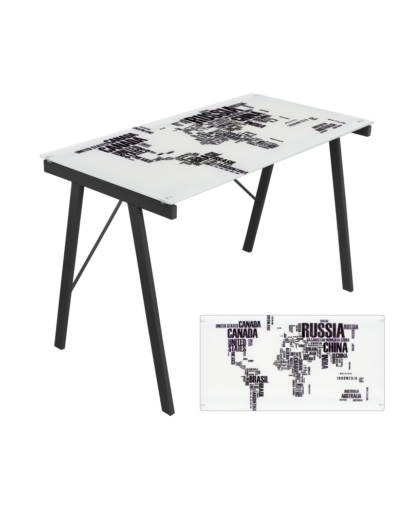 Graphic Exponent Contemporary Desk in White and Black