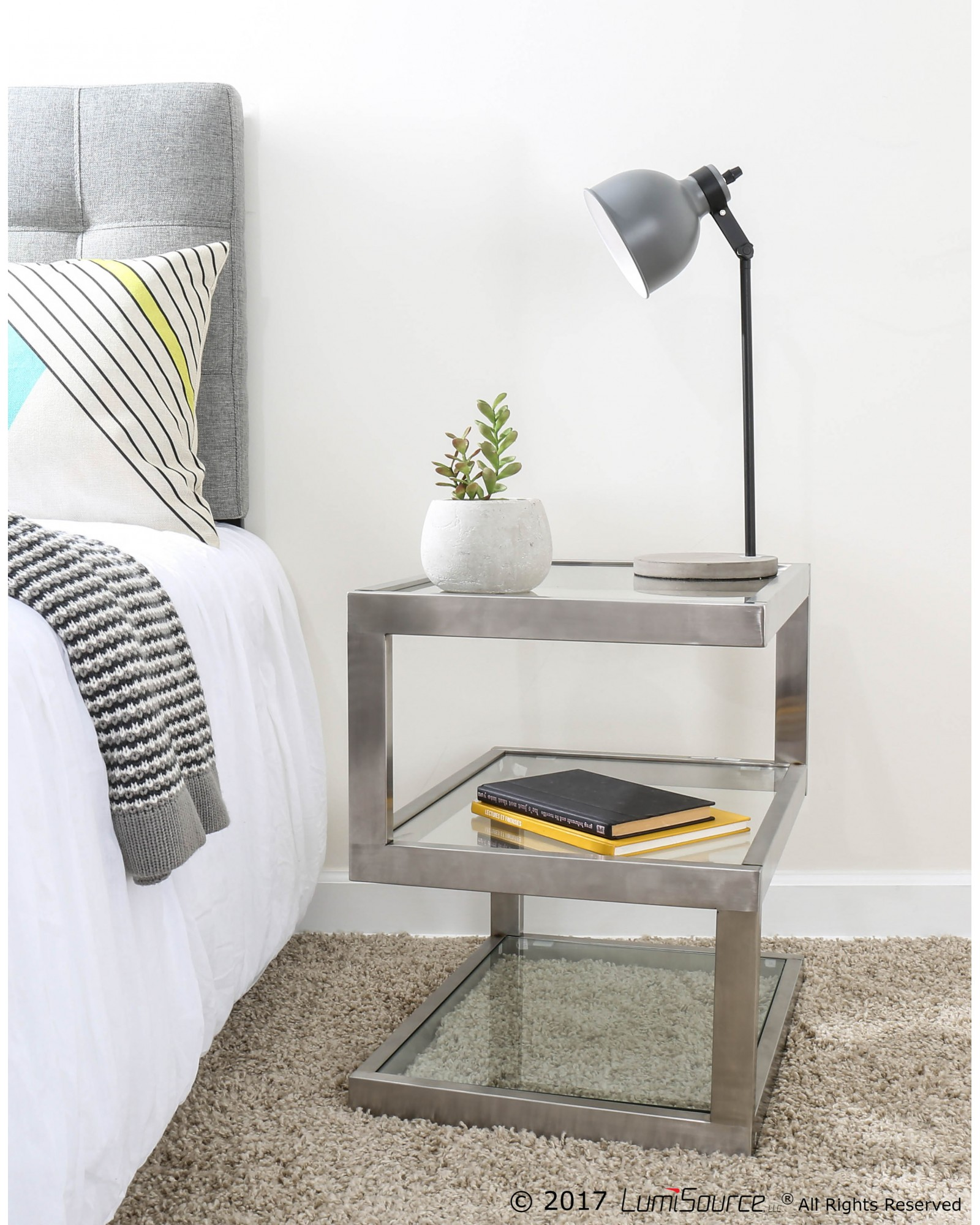 5S Contemporary End Table in Stainless Steel and Clear Glass