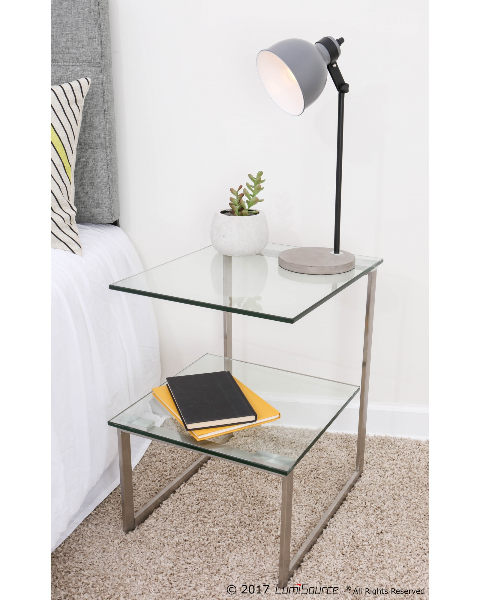 6G Contemporary End Table in Stainless Steel with Clear Glass