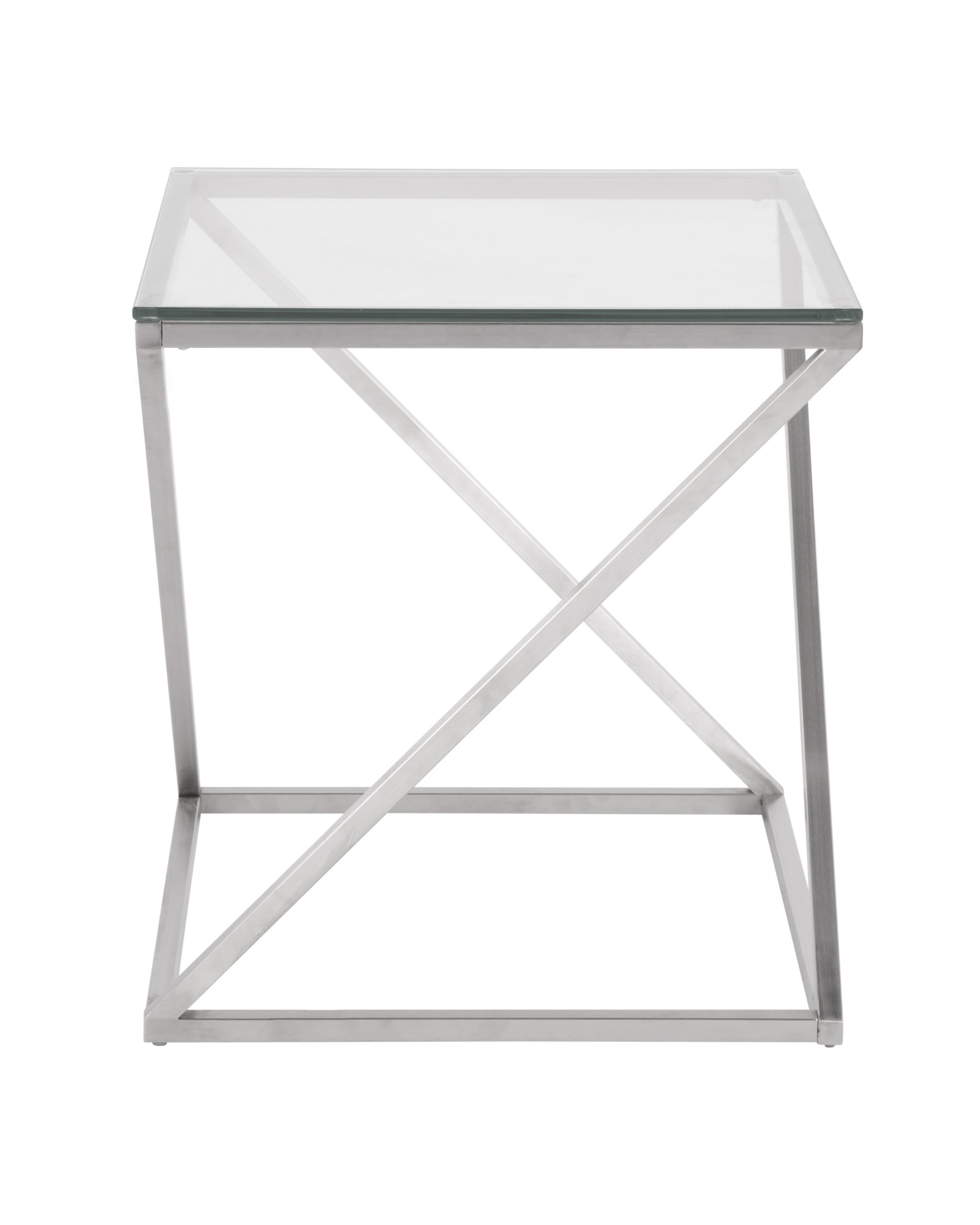 4Z Contemporary End Table in Stainless Steel with Clear Glass