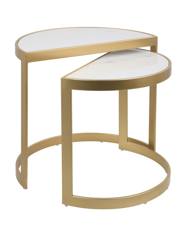 Demi Contemporary Nesting Tables in Gold with White Marble Top - Set of 3