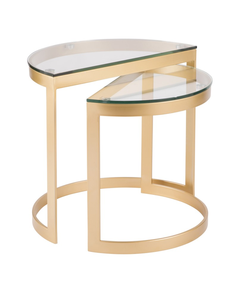 Demi Contemporary Nesting Tables in Gold with Clear Glass Top - Set of 2