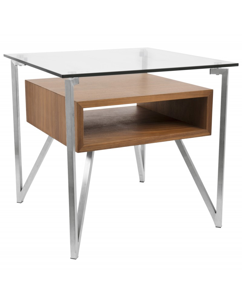 Hover Contemporary End Table with Brushed Stainless Steel Frame, Walnut Wood Shelf, and Clear Glass Top