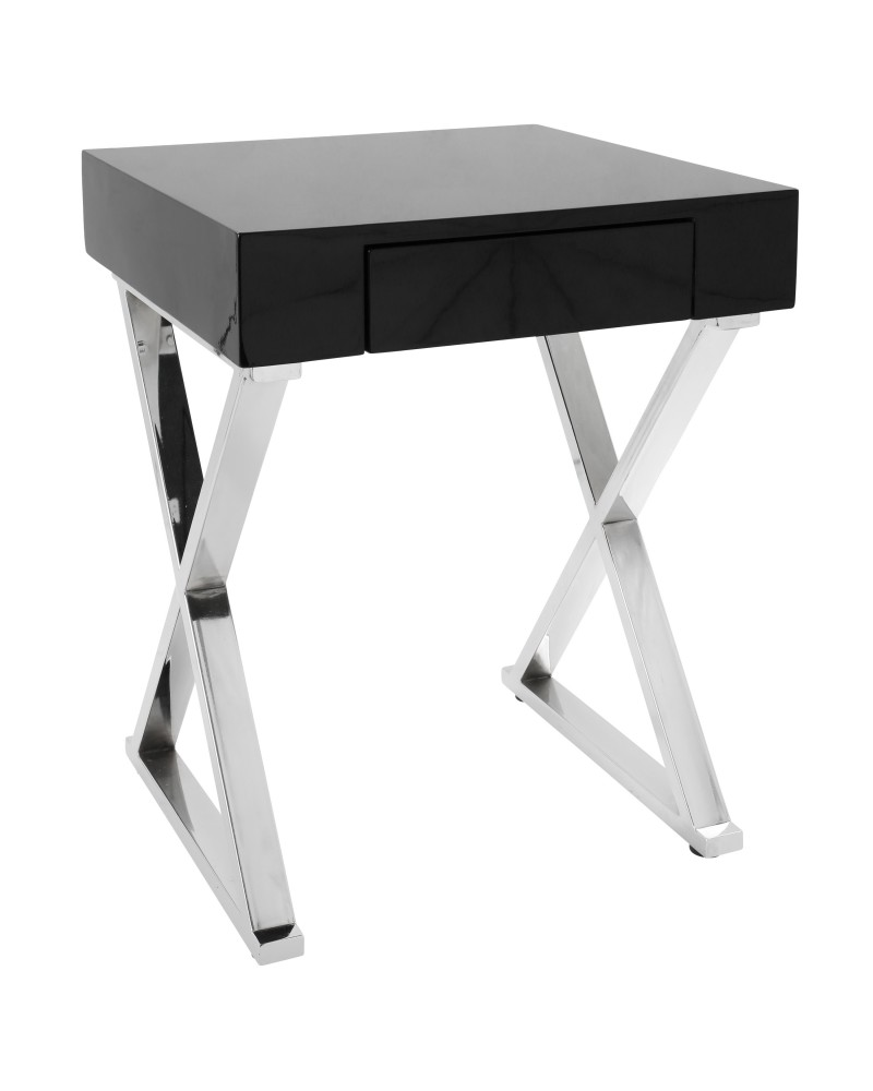 Luster Contemporary Side Table in Black and Chrome