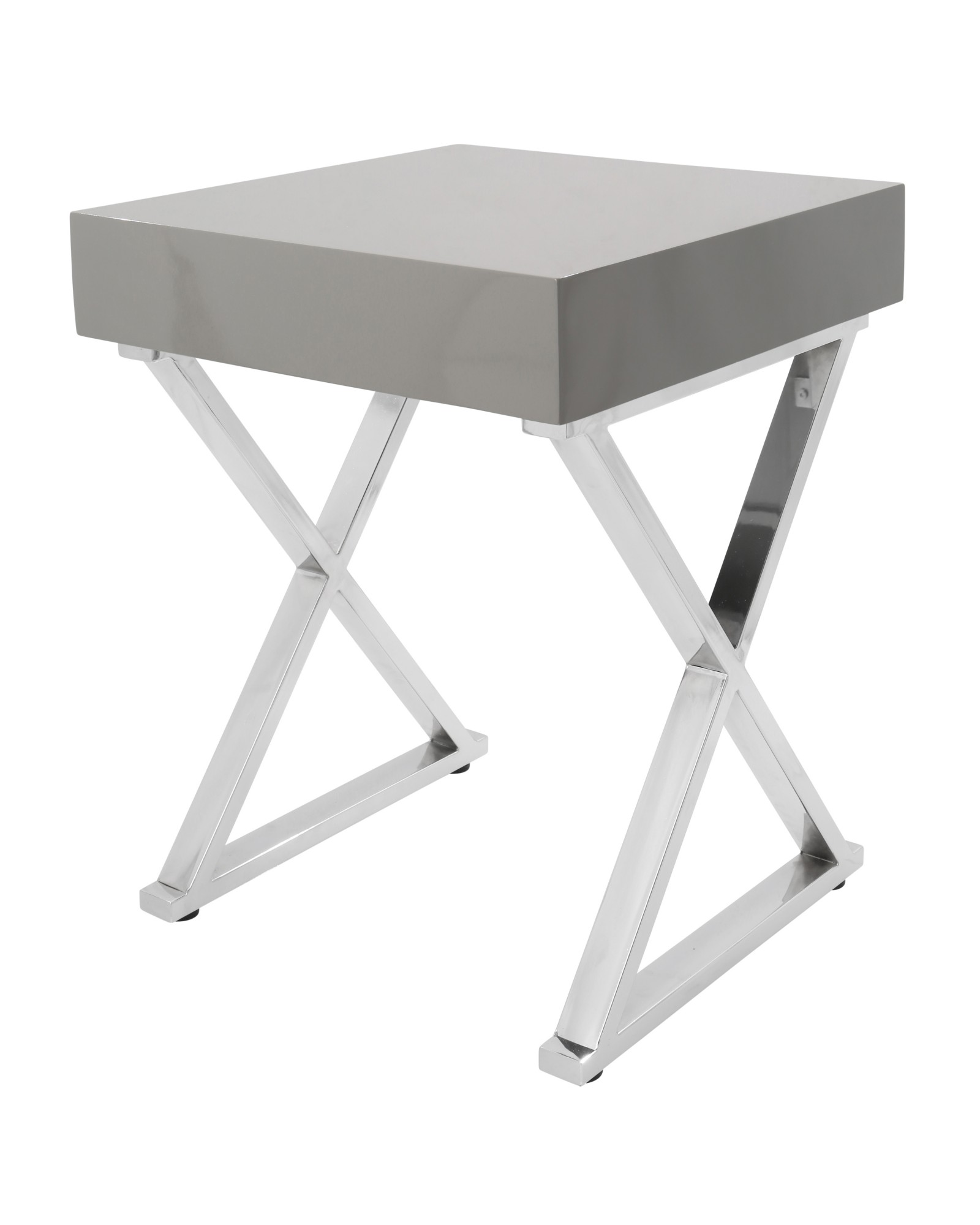 Luster Contemporary Side Table in Grey and Chrome