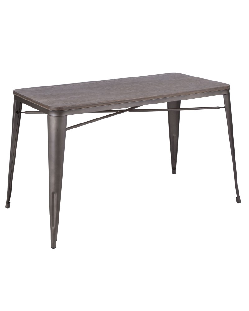 Oregon Industrial-Farmhouse Utility Table in Antique and Espresso